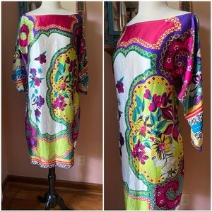 Cache colorful floral silk tunic party dress M